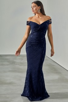 Sistaglam Loves Jessica All Over Lace Bardot Maxi Dress