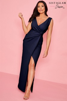 Sistaglam Loves Jessica Wright Wrap Knot Maxi Dress