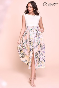 Closet Pleated Floral Midi Dress