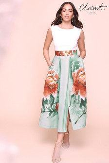 Closet打褶花卉及膝洋裝