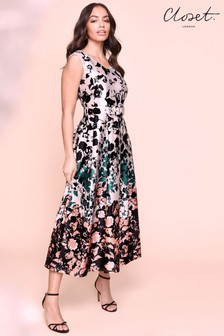 Closet Printed Full Skirt Midi Dress