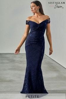 Sistaglam Loves Jessica Petite All Over Lace Bardot Maxi Dress