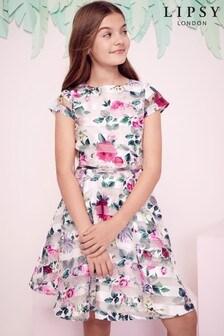فستان أورجانزا مطبوع مقلم بناتي منLipsy