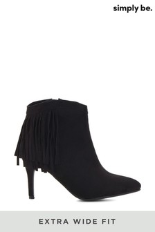 Simply Be Extra Wide Fit Fringed Ankle Boot