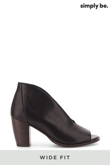 Simply Be Wide Fit V Cut Leather Shoeboot