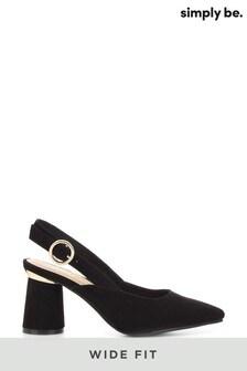 נעלי עקב של Simply Be בעיצוב שפיץ מעוגל בגזרה רחבה עם רצועה אחורית