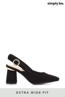 Simply Be Extra Wide Fit Slingback Almond Toe Court Shoe