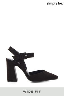 Simply Be Wide Fit Flared Heel Two Part Court Shoe
