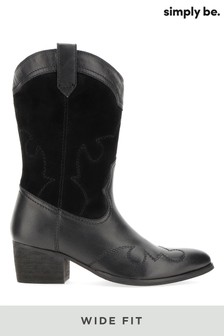 Simply Be Wide Fit Mid Western Boot