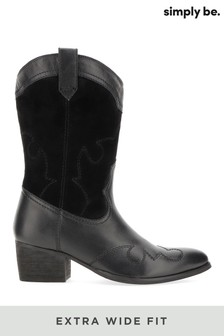 Simply Be Extra Wide Fit Mid Western Boot