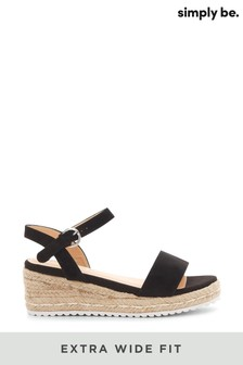 Simply Be Extra Wide Fit Classic Strap Low Wedge Sandals