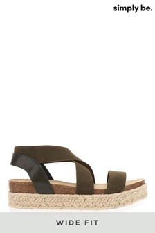 Simply Be Wide Fit Elastic Strap Upper Flatform Sandals