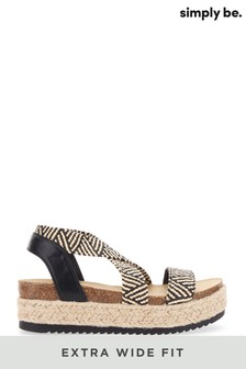 Simply Be Extra Wide Fit Elastic Strap Upper Flatform Sandals