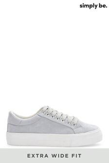Simply Be - Effen pastelkleurige extraruime sneakers met bovenwerk van suède en plateauzool