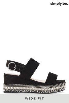 Simply Be Wide Fit Studded Sole Flatform Sandals