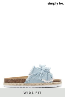Simply Be Wide Fit Frayed Bow Sandals