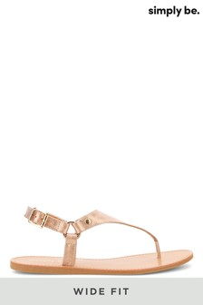Simply Be Wide Fit Harness Toe Post Sandals