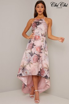 Chi Chi London Fluid Satin Printed Dip Hem Dress