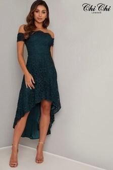 Chi Chi London Embroidered Lace Bardot Dress