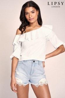Lipsy - Shorts di jeans con bordi in pizzo
