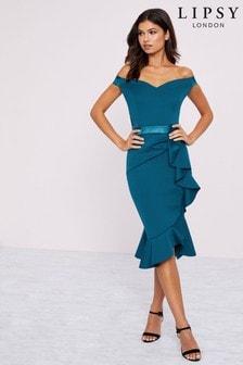 Lipsy Ruffle Bardot Bodycon Dress