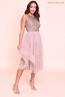 Maya Halterneck Delicate Sequin Midi Dress