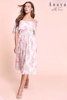 Anaya Oversized Bardot Printed Tulle Midi Dress