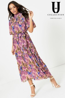 Forever Unique Floral Pleated High Neck Maxi Dress