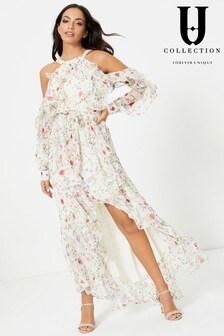 Forever Unique Floral Cold Shoulder Asymmetric Maxi Dress