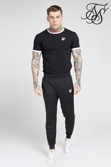 SikSilk Short Sleeve Inset Straight Hem T-Shirt