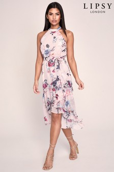 Lipsy Printed Halter Fit & Flare Dress