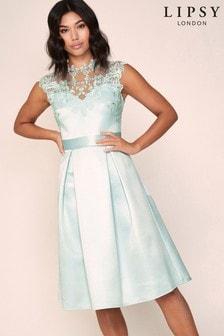 Lipsy Embroiderd Satin Tie Neck Prom Dress