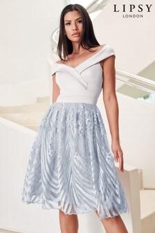 Lipsy Embroidered Skirt Bardot Prom Dress