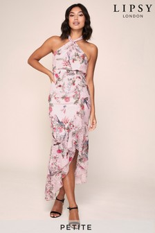 Lipsy Petite Printed Halter Midi Dress