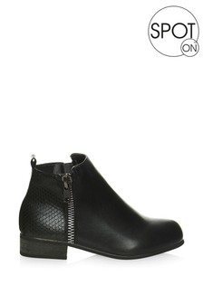 Spot On Zip Ankle Boots