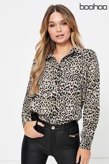 Boohoo Animal Print Shirt