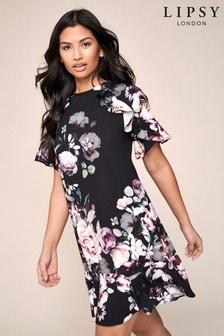 שמלת שיפט עם מלמלה בהדפס דגם Amber של Lipsy
