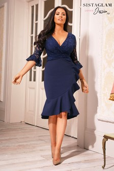 Sistaglam Loves Jessica 3/4 Sleeves Frill Wrap Dress