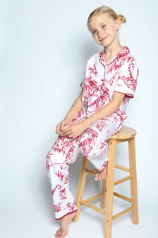 Cyberjammies Kristen White Tiger Short Sleeve Pj Set