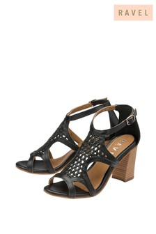 Ravel Leather Woven Block Heel Sandal