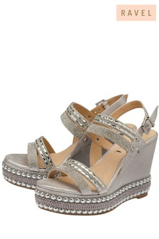 Ravel Stud Detail High Wedge Sandal