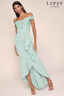 Lipsy Embellished Bardot Frill Hem Maxi Dress