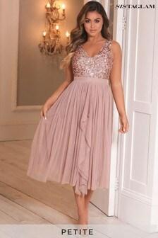 Sistaglam Petite V neck Midi Dress With Sequin Top