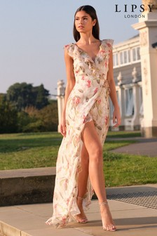 Lipsy Printed Ruffle Maxi Dress