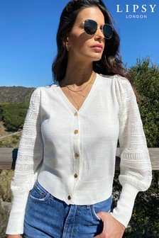 Lipsy Pointelle Sleeve Knitted Cardigan