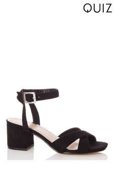Quiz Faux Leather Cross Strap Square Toe Low Heel Sandals