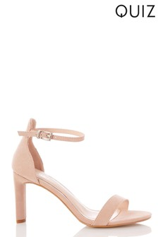 Quiz Faux Suede Two Part Heeled Sandal