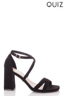 Quiz Faux Suede X Strap Square Toe Block Heel Sandal
