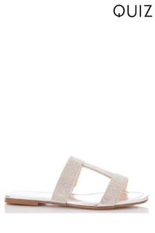 Quiz Diamanté H Flat Sandals