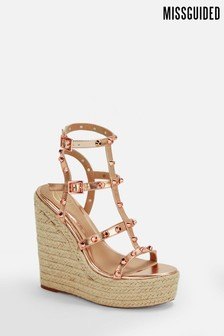 Missguided Dome Stud Jute Wedges